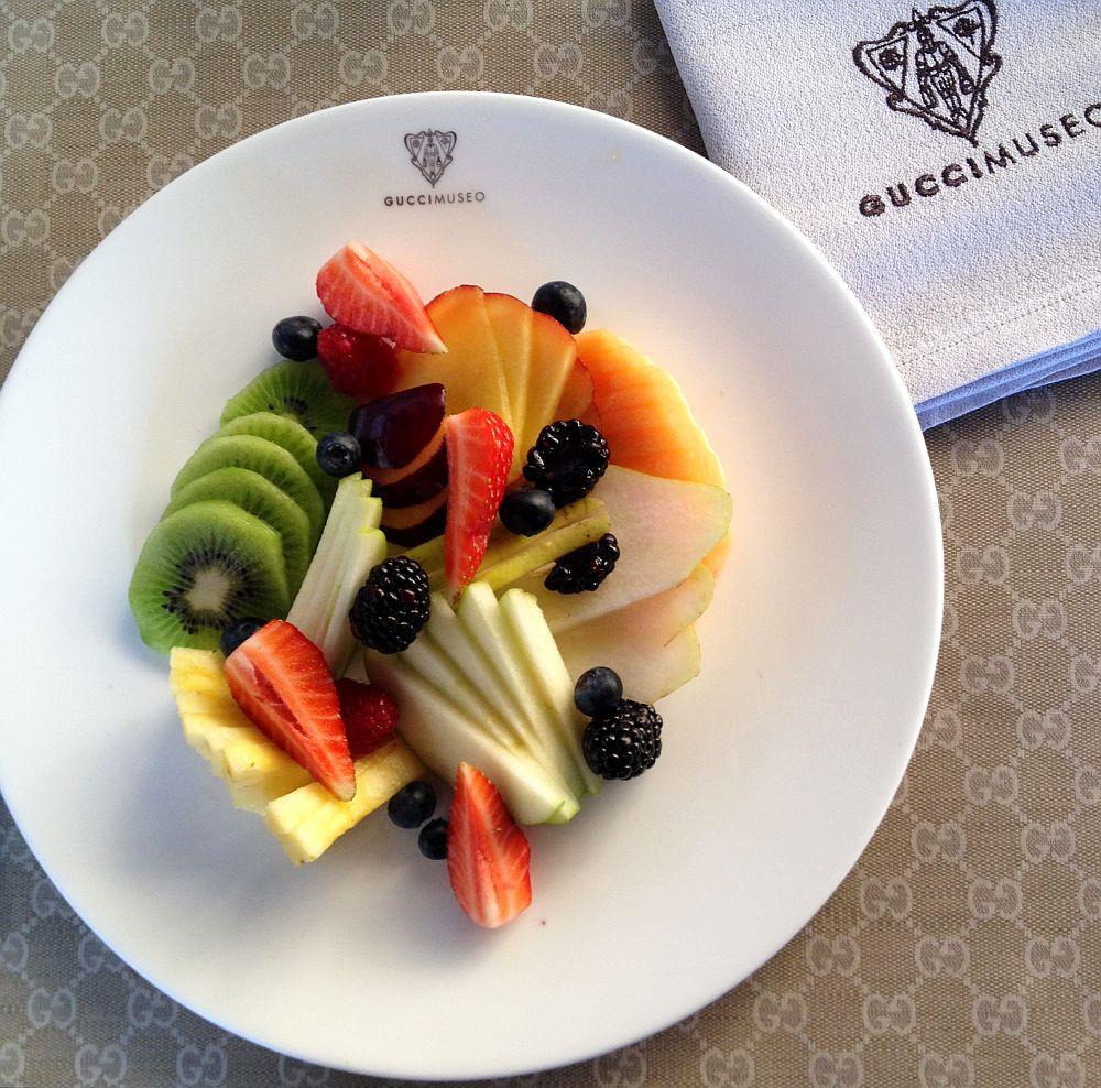 Posh fruit salad at Gucci Museo Cafe in Piazza della Signoria